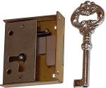 Mini-Schloss, Messing roh, mit Schlüssel, Dorn 28mm links