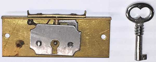 Einlaßschatullenschloß, Messing roh, mit Schlüssel, Dorn 12mm. Für kleine Truhen oder Schmuckkästchen