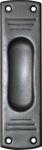 Schiebetürschild, Schiebetürgriff, Schiebetürmuschel, Griffmulde, blind, Eisen altgrau, matt klar lackiert, 145x40mm