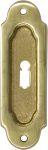 Schiebetürmuschel Buntbart, Messing gegossen, poliert lackiert, Schiebetür Schild historisch, antik, alt, Schiebetürbeschlag, Schiebetürgriff