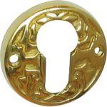 PZ-Schlüsselrosette, Messing gegossen, poliert unlackiert