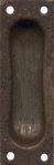 Schiebetürmuschel für Möbel, Eisen gerostet und gewachst, 80x26mm, Schiebetür Schild, antik, alt, Schiebetürbeschlag, Schiebetürgriff