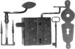 Zimmertürschloss Garnitur Buntbart, Eisen altgrau, matt klar lackiert, mit Kloben und Schlüssel