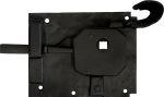Türschlösser alt, antik, Zimmertürschlossgarnitur Eisen schwarz, DIN rechts, Dornmaß: 70mm