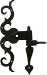 Türband mit Kloben, Torband antik alt, historische antike Türbänder für Zimmertüren und Haustüren, Eisen matt schwarz lackiert, Höhe: 300mm