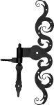 Türband rustikal mit Kloben, Türbänder historisch für Altbau und Neubau, Eisen matt schwarz lackiert, Höhe: 380mm