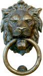 Türklopfer Löwenkopf antik, Löwenklopfer, Löwe aus Messing
