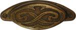 Muschelgriff antik, alt, altvermessingt, schöne alte Messingoptik